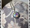 hb969 Långt stål halsband med rainbow sten